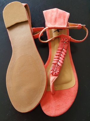 Atmosphere High-Heeled Toe-Post Sandals salmon-bright red
