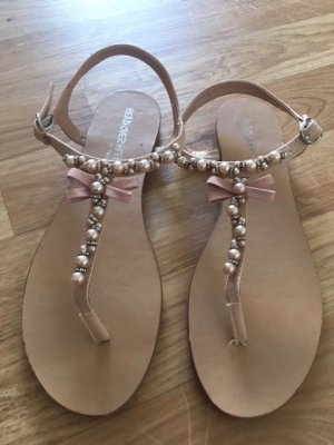 Zehentrenner-Sandalen Head over Heals by Dune, Nude mit Perlenapplikation