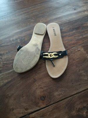 Sandalias con talón descubierto negro-naranja dorado