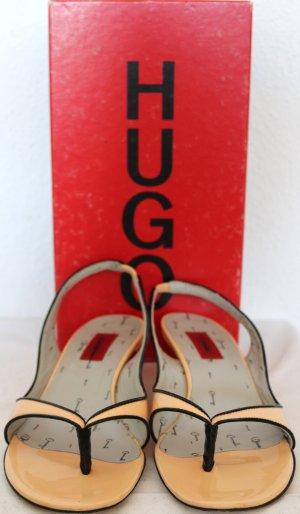 Zehentrenner-Sandalen mit kleinem Absatz von Hugo Boss - Gr. 38.5 - Ziegenleder - Light/Pastel pink