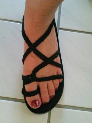 Toe-Post sandals black cotton