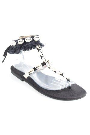 Toe-Post sandals black-cream beach look