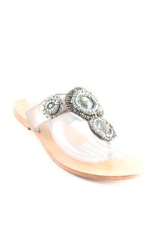 Sandalo toe-post argento-antracite stile spiaggia