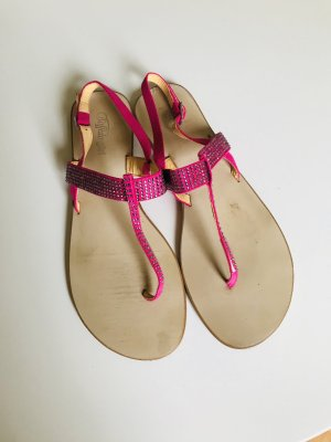 Zehentrenner Sandalen von Buffalo - pink mit Strass