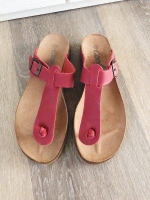 Zehentrenner Sandalen von Coolway Gr. 38 rot Echtleder