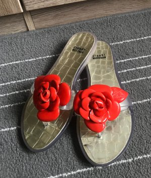 Zehentrenner Stuart Weitzman Gr. 38 (8) rote Blume Camellia Sandale Sandalette