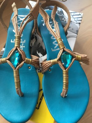Xyxyx Toe-Post sandals gold-colored-turquoise