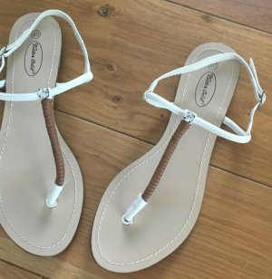 5th Avenue Toe-Post sandals natural white-brown leather