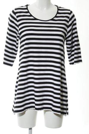 zeitlos by luana Lang shirt zwart-wit gestreept patroon casual uitstraling