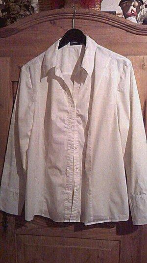 Zeitlose schöne Samoon (Gerry Weber) Bluse Gr. 44 weiß Baumwolle, langarm