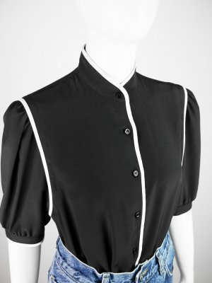 Stand-Up Collar Blouse black-white synthetic fibre