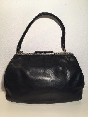 """Zeitlose Vintage Handtasche """"Goldherz"""" aus schwarzem Leder"""