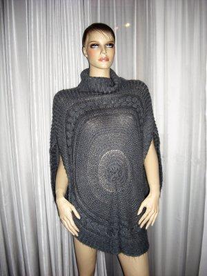 Zeitloser Aparter Poncho grau Strick Wolle   one size  von PIECES