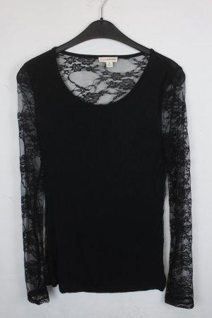 Zenana Outfitters Shirt Longsleeve Spitzenshirt Gr. M schwarz mit schwarzer Spitze (18/5/026)
