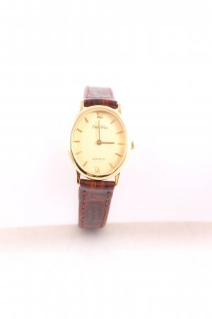 ZentRa Watch With Leather Strap dark brown classic style