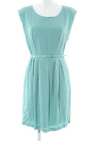 Zero A-Linien Kleid türkis-weiß Punktemuster Casual-Look
