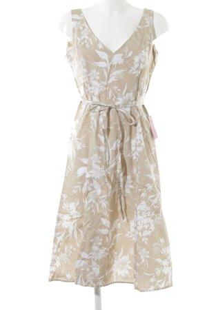 Zero A-Linien Kleid beige-weiß florales Muster Vintage-Look