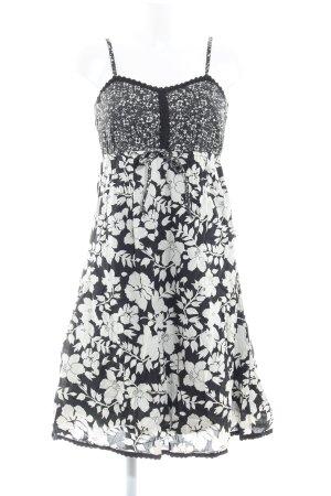 Zero A-Linien Kleid schwarz-hellbeige Blumenmuster Casual-Look
