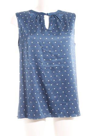 Zero ärmellose Bluse weiß-blau Punktemuster Elegant