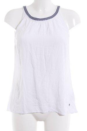Zero ärmellose Bluse weiß-dunkelblau Streifenmuster Marine-Look