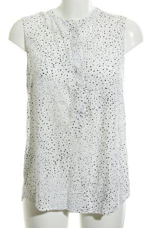 Zero ärmellose Bluse weiß-schwarz Punktemuster Casual-Look