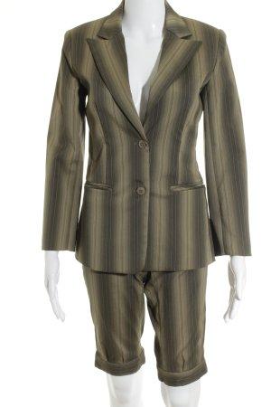 Zero Anzughose grüngrau-khaki Streifenmuster 80ies-Stil