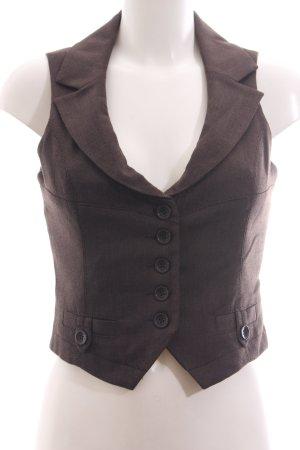 Zero Gilet de costume brun Motif de tissage style d'affaires