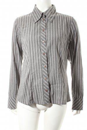 Zero Base Langarm-Bluse grau-weiß Streifenmuster Casual-Look