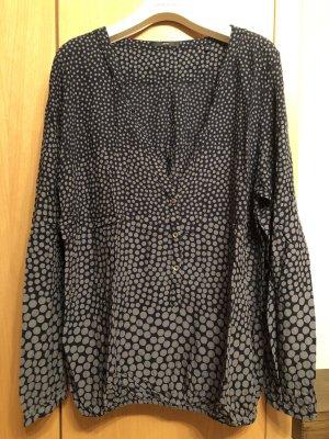 Zero Bluse - getupft - blau-grau - mit schönem Ausschnitt- Gr. 44