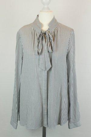Zero Bluse Schluppen-Bluse Gr. 36 grau weiß Streifen Schleife