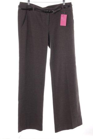 Zero Pantalon à pinces gris brun-gris foncé motif en zigzag style anglais
