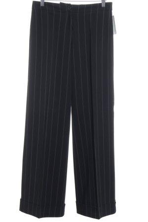 Zero Pantalone a pieghe nero-bianco sporco gessato stile professionale