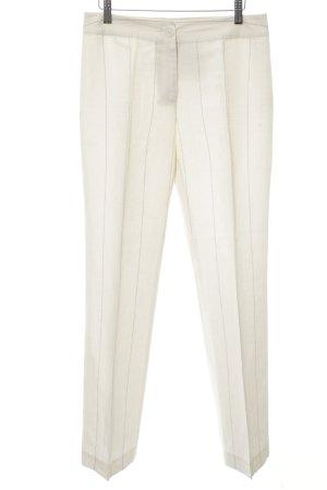 Zero Bundfaltenhose wollweiß-grau Streifenmuster Elegant