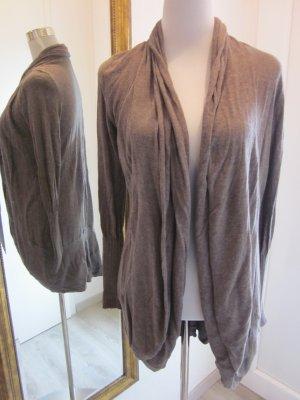 Zero Gilet tricoté gris brun viscose