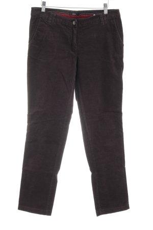 Zero Pantalon en velours côtelé brun foncé style décontracté