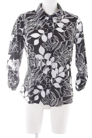 Zero Blusa-camisa negro-blanco estampado floral look casual