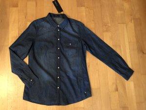 Zero Jeans Denim Bluse Blau Dots 38 Neu m. Etikett