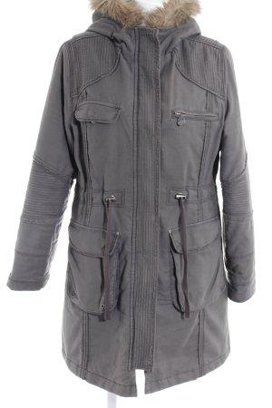 Zero Manteau à capuche gris-gris brun motif de courtepointe style décontracté
