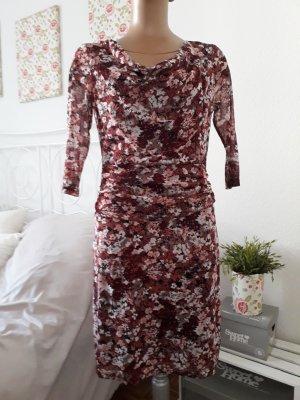**Zero Kleid mit transparenten Ärmeln*Blumenprint*Wasserfallausschnitt*Neu**