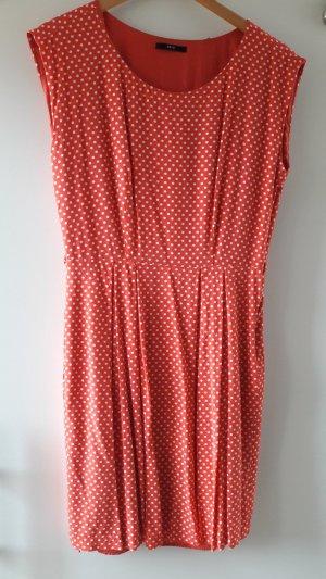 ZERO Kleid weiß gepunktet in korallenfarben / hellrot