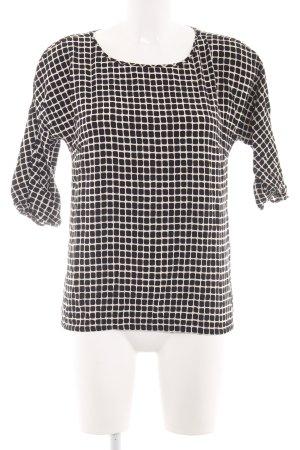 Zero Kurzarm-Bluse schwarz-weiß Allover-Druck Casual-Look