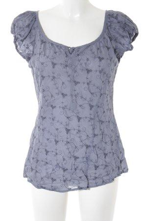 Zero Kurzarm-Bluse graublau-grauviolett Blumenmuster klassischer Stil