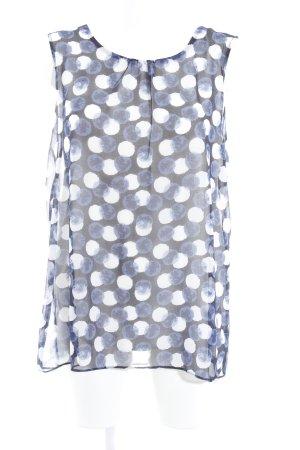 Zero Kurzarm-Bluse schwarz-dunkelblau Punktemuster Casual-Look