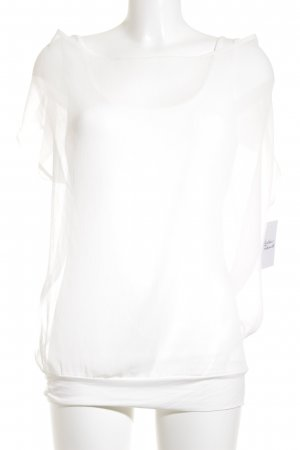 Zero Kurzarm-Bluse weiß schlichter Stil