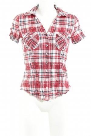Zero Short Sleeve Shirt red-white check pattern casual look