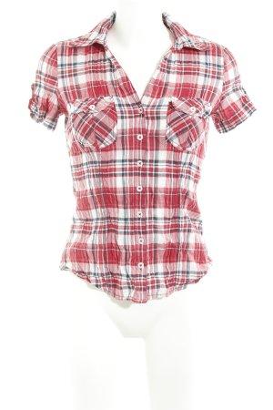 Zero Shirt met korte mouwen rood-wit geruite print casual uitstraling