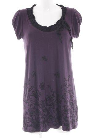 Zero Kurzarmkleid dunkelviolett-schwarz florales Muster Casual-Look