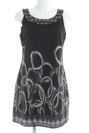 Zero Kurzarmkleid schwarzbraun abstraktes Muster Elegant