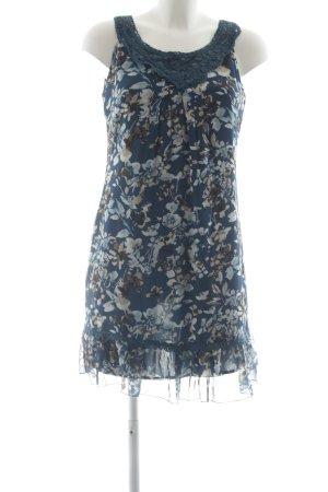 Zero Kurzarmkleid stahlblau florales Muster Elegant