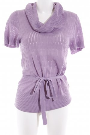 Zero Short Sleeve Sweater mauve loosely knitted pattern casual look